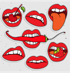 Lips sticker collection sexy lips with strawberry vector