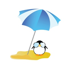 penguin sweet and cute with sunglass vector image