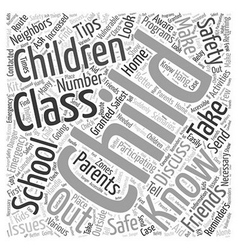 after school safety tips and reminders Word Cloud vector image vector image