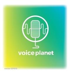 Sound voice planet green wave symbol logo vector image