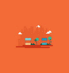 street stall with city on orange background vector image vector image