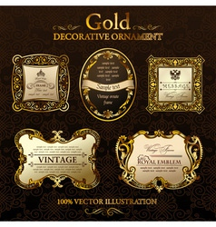 vintage decor frames gold ornament label vector image vector image