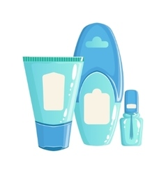 Cream lotion and nail polish in blue plastic vector
