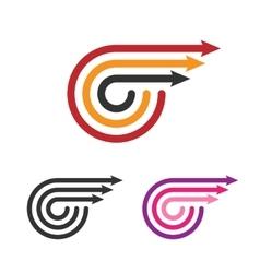 Logo Template Set Three Arrows Line Style vector image