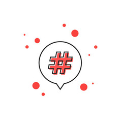 thin line hashtag icon in outline bubble vector image