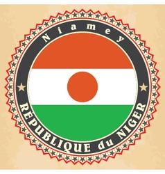 Vintage label cards of Niger flag vector image vector image