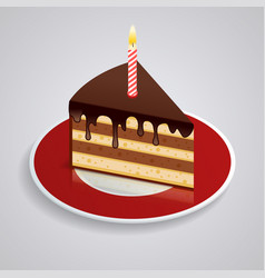a piece of chocolate cake with one candle on a vector image