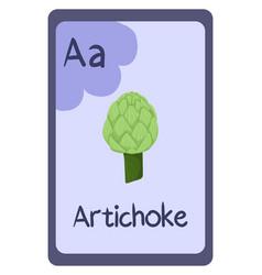 Abc flashcard letter a for artichoke vector