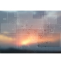 Abstract tech design on magic sunset backdrop vector image