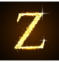 Alphabets Z of gold glittering stars vector