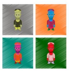 assembly flat shading style icon zombie men vector image