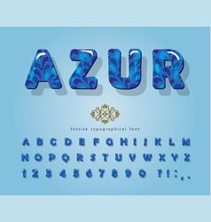 azure 3d glossy font cartoon decorative alphabet vector image