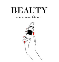 beauty cosmetics banner women s hand with makeup vector image