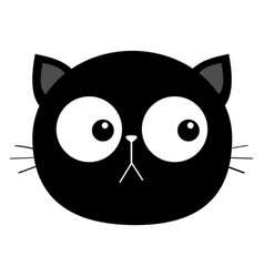 black cat head face round icon with big eyes cute vector image