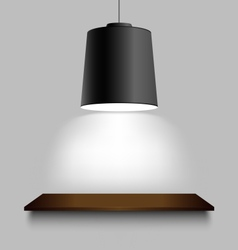 Black ceiling lamp with shelf on the wall vector