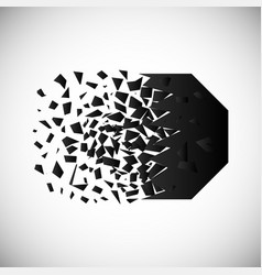 Black polygon destruction shapes vector
