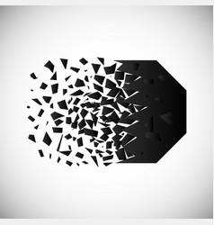 Black polygon destruction shapes with vector