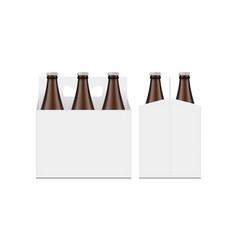 Bottle carrier packaging box mockup front side vector