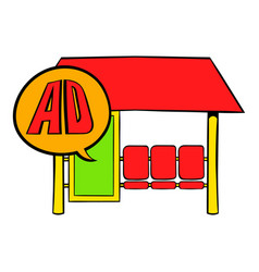 Bus stop station with advertising panel icon vector
