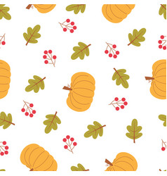 cartoon autumn pattern with pumpkin vector image