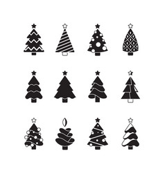 christmas tree icon nature celebration symbols vector image