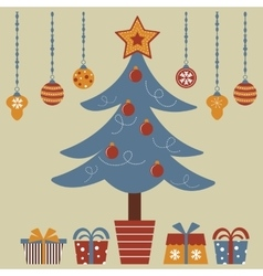 Christmas tree with various gifts vector image vector image