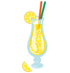 Cocktail with straws and lemon slice isolated vector
