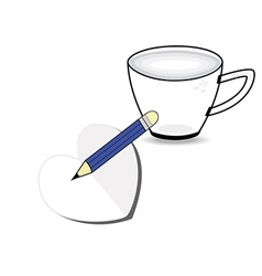 Coffee cup with paper heart and pencil vector