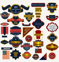collection or set labels ribbons vintage style vector image