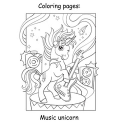 Coloring book page cool unicorn with guitar vector