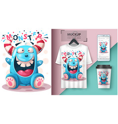 Crazy monster - mockup for your idea vector