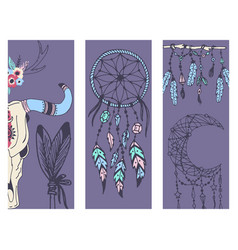 Creative boho style banner mady ethnic feathers vector