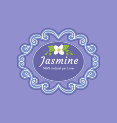 Delicate greeting card packing with jasmine flower vector