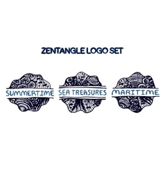 Detailed hand drawn zentangle logo set vector image