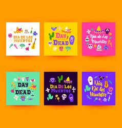 Dia los muertos postcards vector