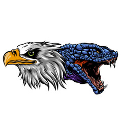 eagle fighting a snake serpent tattoo style vector image