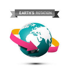 earths rotation symbol with arrow on globe planet vector image