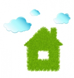 Eco house and clean clouds vector