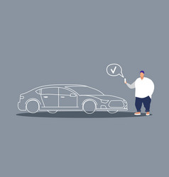 fat man holding smart phone ordering cab obese guy vector image