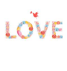 festive beautiful inscription love vector image