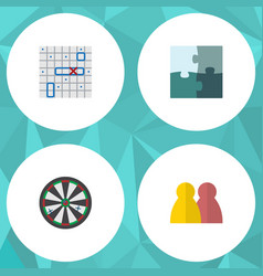 flat icon games set of sea fight people arrow vector image vector image