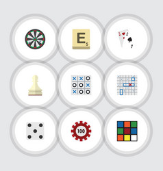 flat icon play set of mahjong sea fight poker vector image