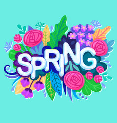 Fresh spring background with colorful flowers vector