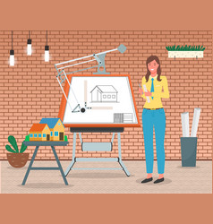 Girl architect working on project scene vector