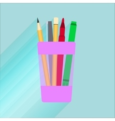 Glass for pencils with a red marker vector