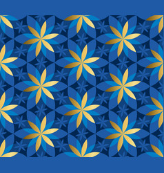 gold and blue floral geometric seamless pattern vector image