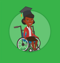 Graduate sitting in wheelchair vector