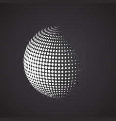 halftone sphere isolated abstract earth logo vector image