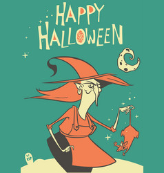 halloween witch in hat holding a rat vector image