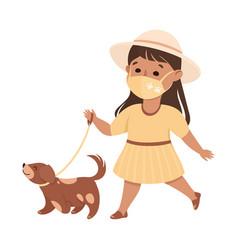 Happy girl wearing face mask walking dog as vector